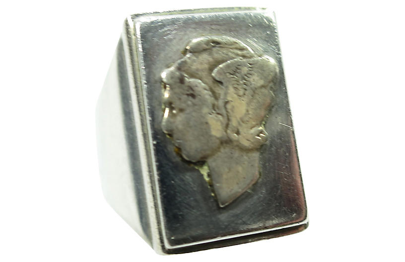 1940s WWII Winged Liberty Head Dime Ring