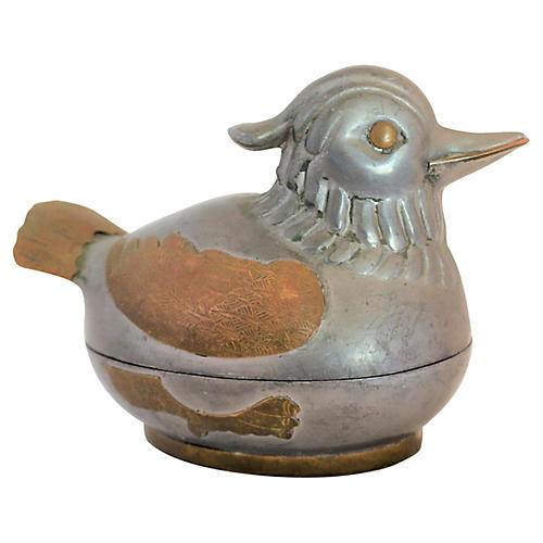 Primitive Pewter & Brass Quail Catchall