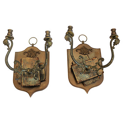 Antique English Wall Sconces S/2