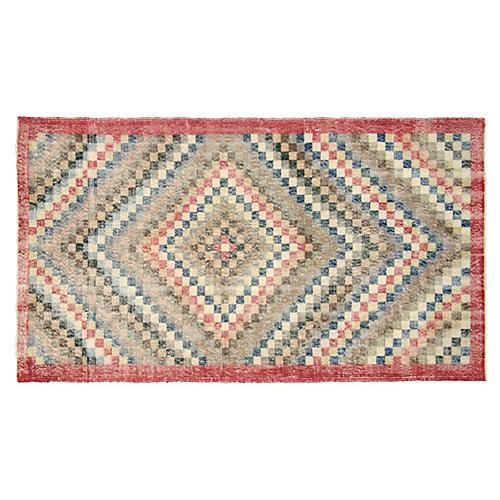 """Art Deco Turkish Rug, 4' x 7'5"""""""