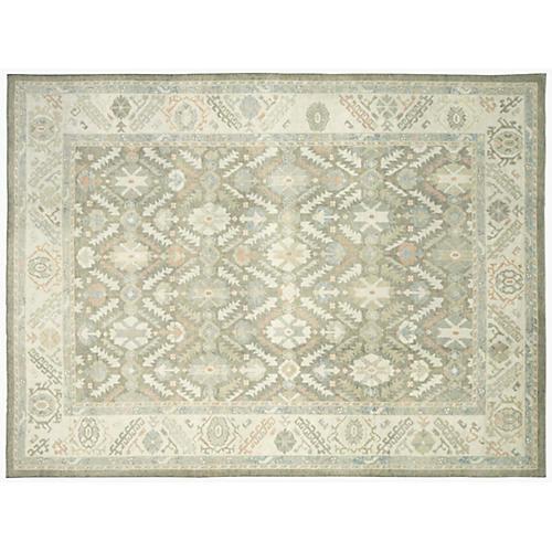 """Turkish Oushak Carpet, 10'9"""" x 14'2"""""""
