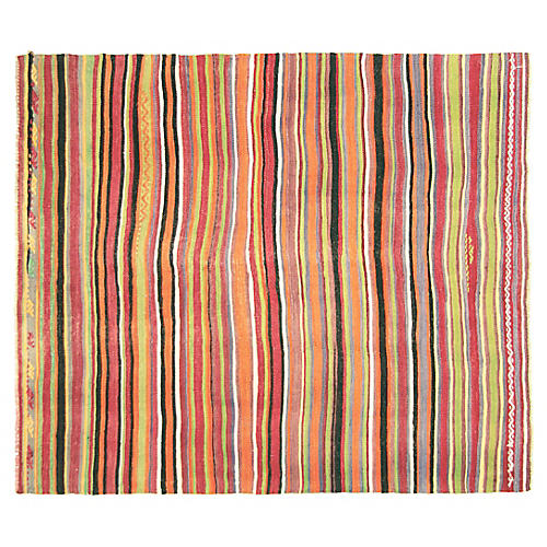 "1950s Turkish Striped Kilim, 5'2"" x 6'"