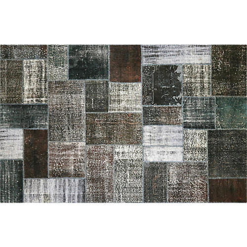 """Overdyed Patchwork Rug, 6'5"""" x 10'"""