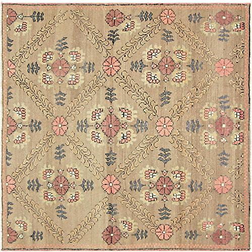 "1960s Turkish Oushak Carpet, 4'6"" x 4'6"""