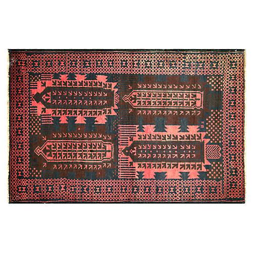 """1970s Afghan Baluch Rug, 3'2"""" x 4'10"""""""