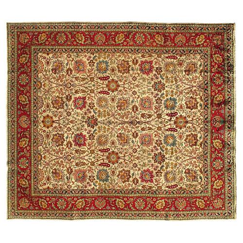 """Persian Tabriz Rug, 9'6"""" x 11"""