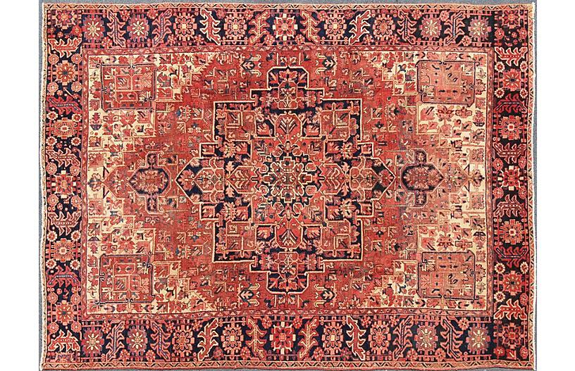 Vintage Persian Heriz Carpet, 9'7 x 12'7