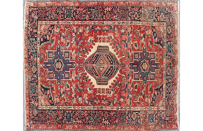 Vintage Persian Heriz Rug, 4'10 x 6'2