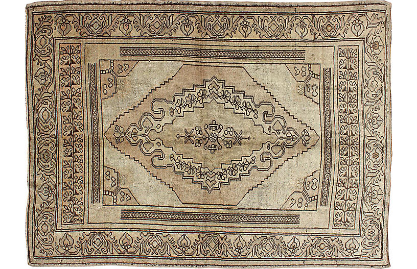 Vintage Turkish Oushak Rug, 4' x 5'7