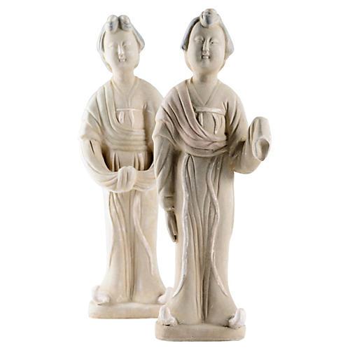 Ceramic Tang-Style Figurines, Pair