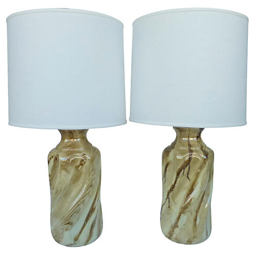 Faux Stone Painted Lamps, Pair