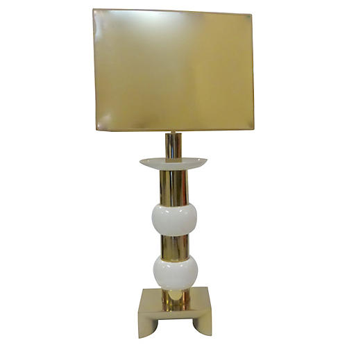 Large Brass & Ceramic Lamp w/ Shade