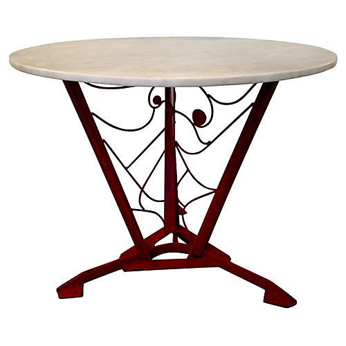 Handcrafted Red Metal Art Table
