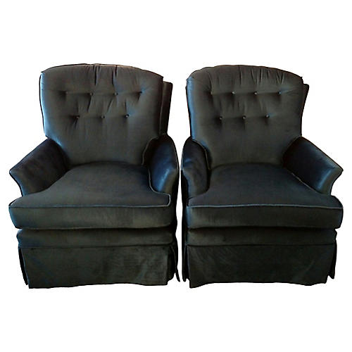 Blue Velvet Swivel Rockers, Pair