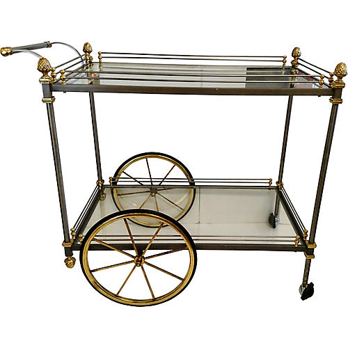 Trolley Nickel & Brass Bar Cart
