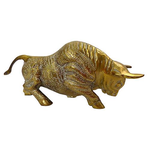 Vintage Cast Brass Bull