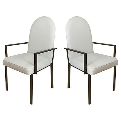 Midcentury Metal Armchairs, S/2