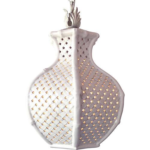 1960s Ceramic Basket Weave Pendant Light