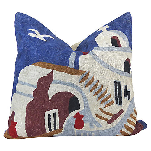 Greek Islands Crewel Pillow