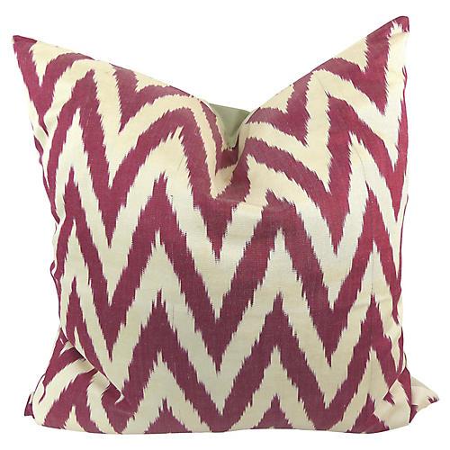 Red Woven Silk Ikat Pillow