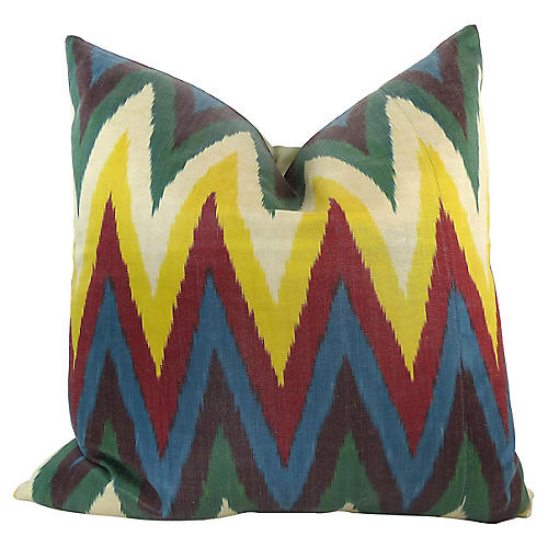 Colorful Woven Silk Ikat Pillow