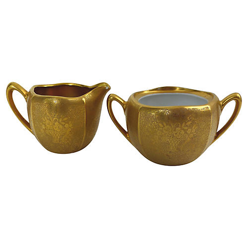 Gold Creamer & Sugar Bowl