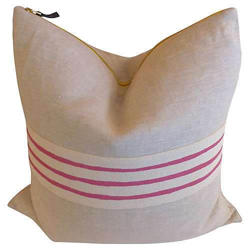 Linen Pillow with Pink Stripes