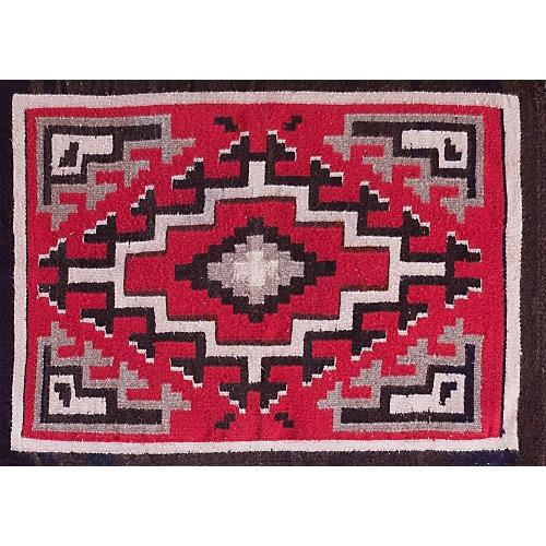"""Antique Navajo-Style Rug, 2'2"""" x 2'10"""""""