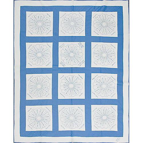 "Blue & White Quilt, 6'4"" x 7'10"""
