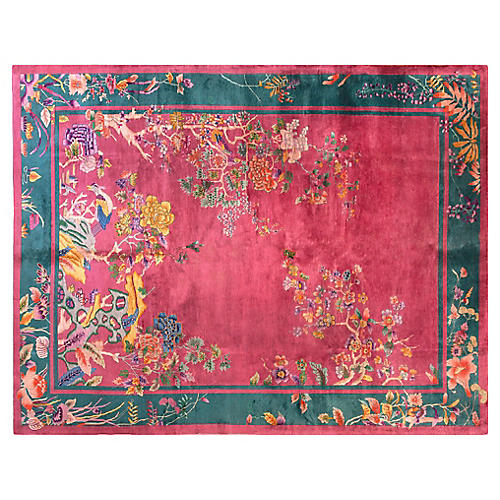 """Chinese Art Deco-Style Rug, 9' x 11'8"""""""