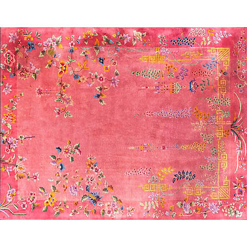 """Pink Chinese Art Deco Rug, 11'4"""" x 8'10"""""""