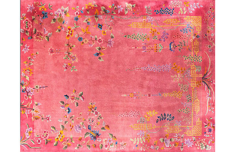 Pink Chinese Art Deco Rug, 11'4