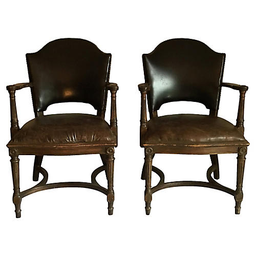 Leather Nailhead Chairs, S/2