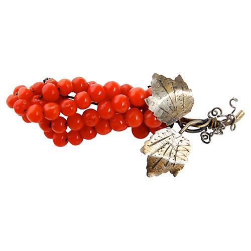 Victorian Coral Bead Pin