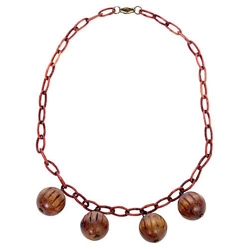 Bakelite Chain & Wood Ball Necklace
