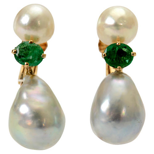 Emerald & Pearl Drop Earrings