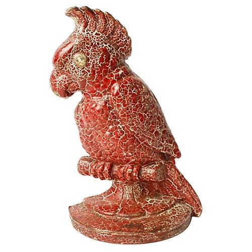 Red Craquelure Parrot Doorstop