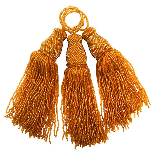 Iridescent Gold Glass Bead Tassels, S/3