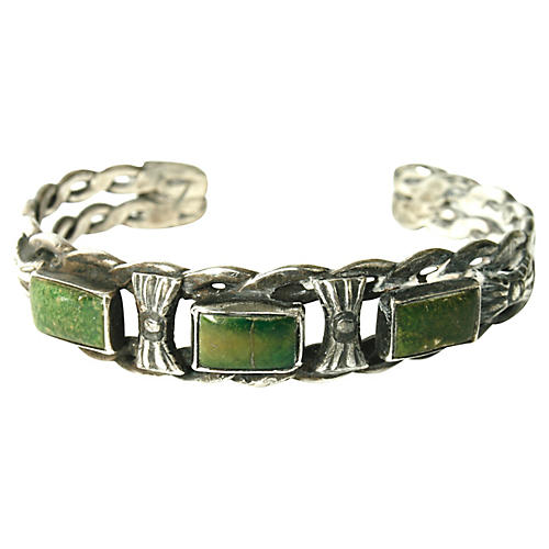 Green Turquoise & Silver Cuff
