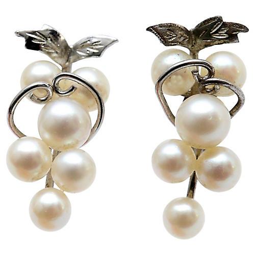 Pair of Pearl Grape Cluster Earrings