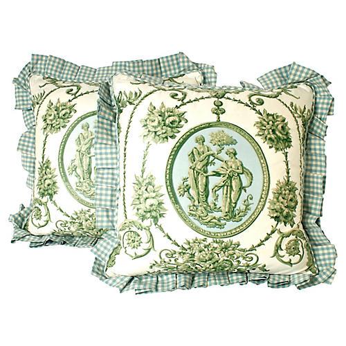 Neoclassical Chintz Throw Pillows, S/2