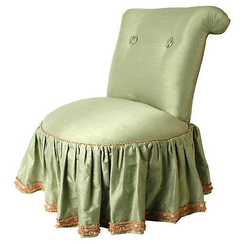 1980s Seafoam Silk Boudoir Chair