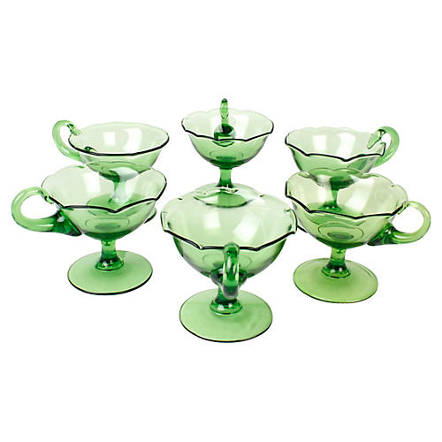 Green Fluted Glass Sherbets, S/6