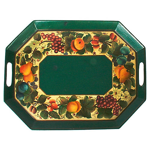 Hand-Painted Fruit Tole Tray