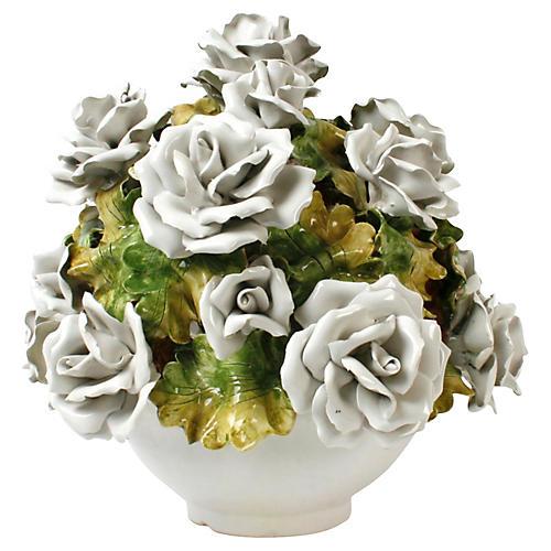 Italian Ceramic White Rose Bouquet