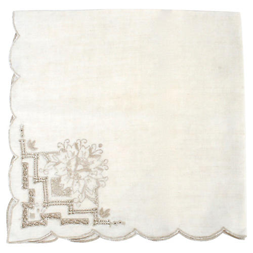 4 Lace & Floral Embroidered Ecru Napkins