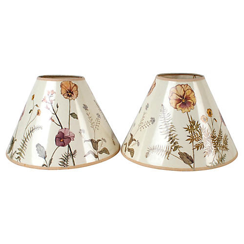 Two Wildflower Paper Lampshades