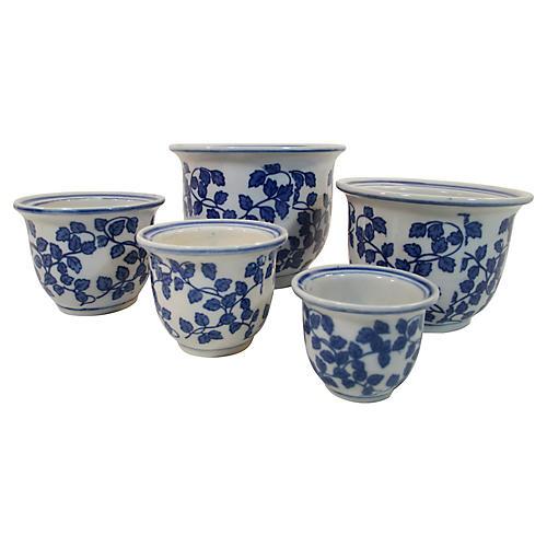 Porcelain Nesting Planters, Set of 5