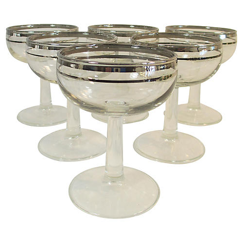 Modern Silver-Rimmed Coupes, S/6