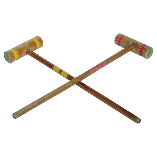 Croquet Mallets in Yellow & Red, Pair
